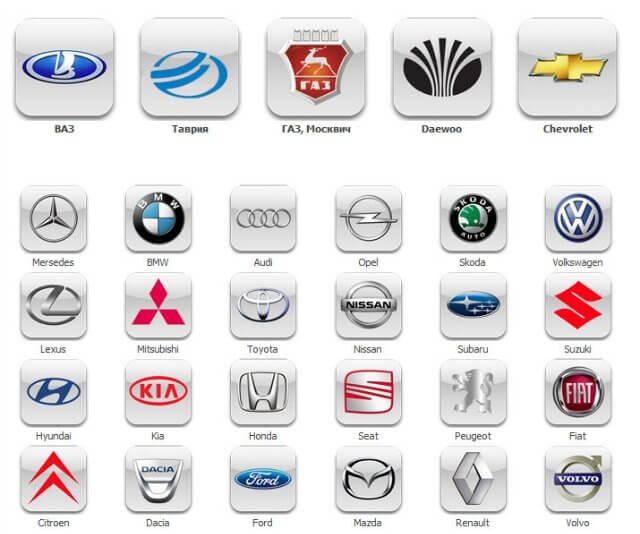 Логотипы автомобильных производителей