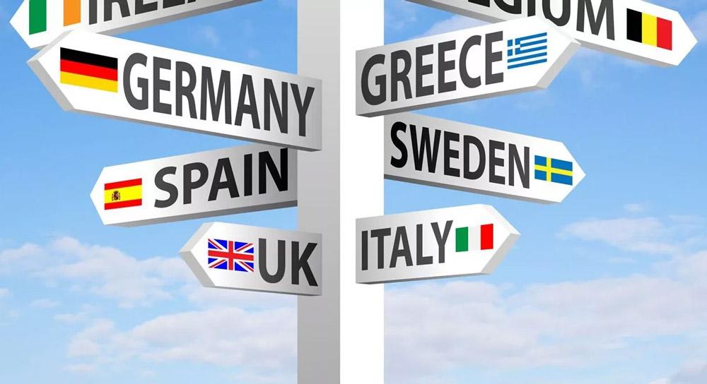 Указатель с европейскими странами