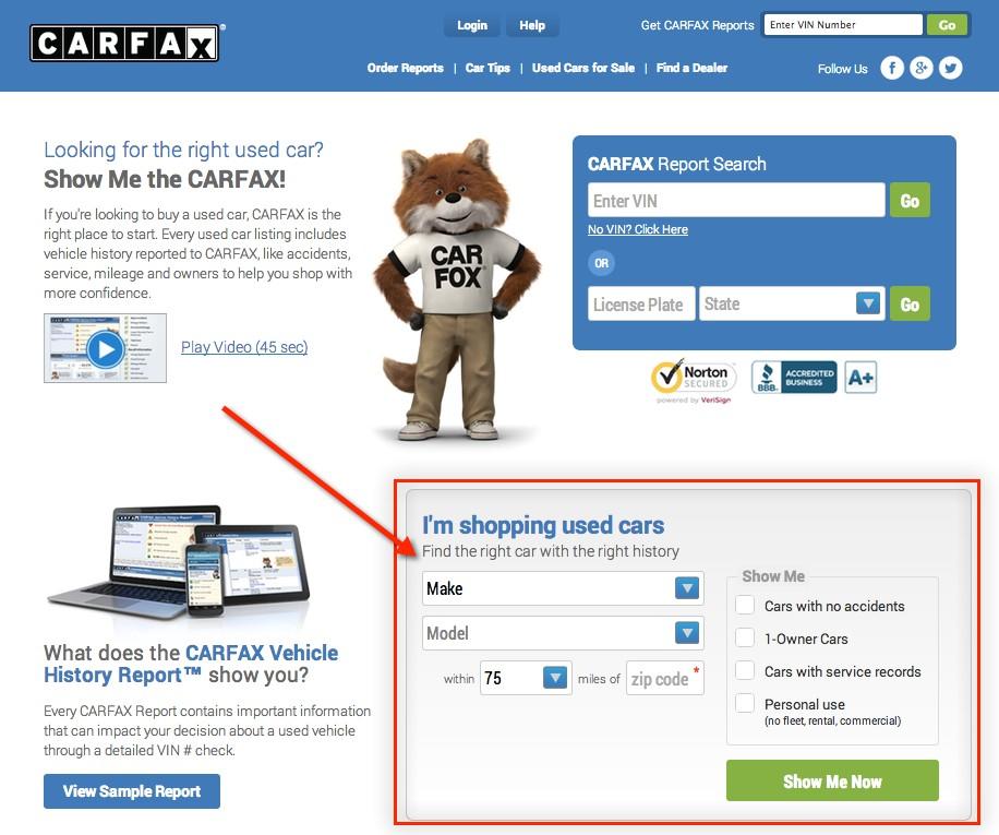 Сайт Carfax для проверки автомобиля