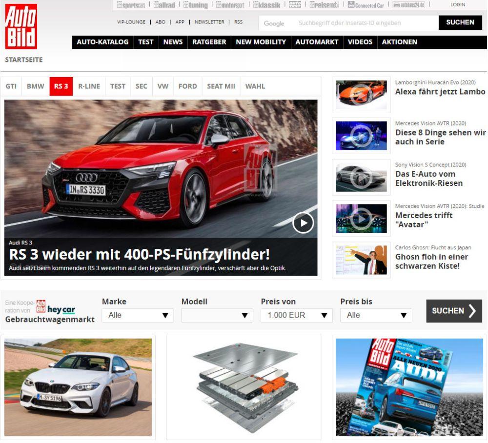 Страница сайта Autobild.de