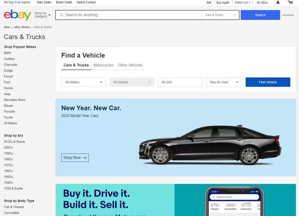 Выбор автомобиля на Ebay.Motors