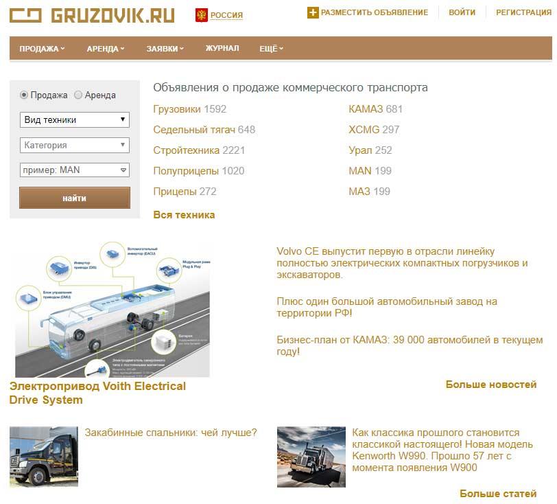 Российский сайт Gruzovik