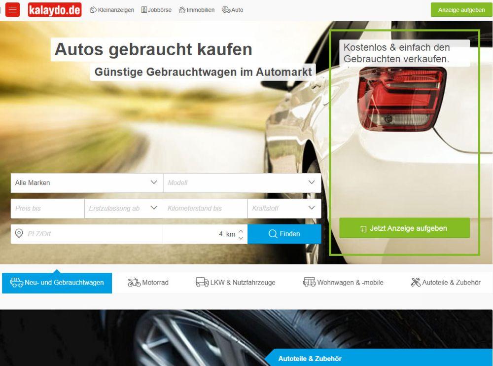 Страница сайта продажи машин Kalaydo.de