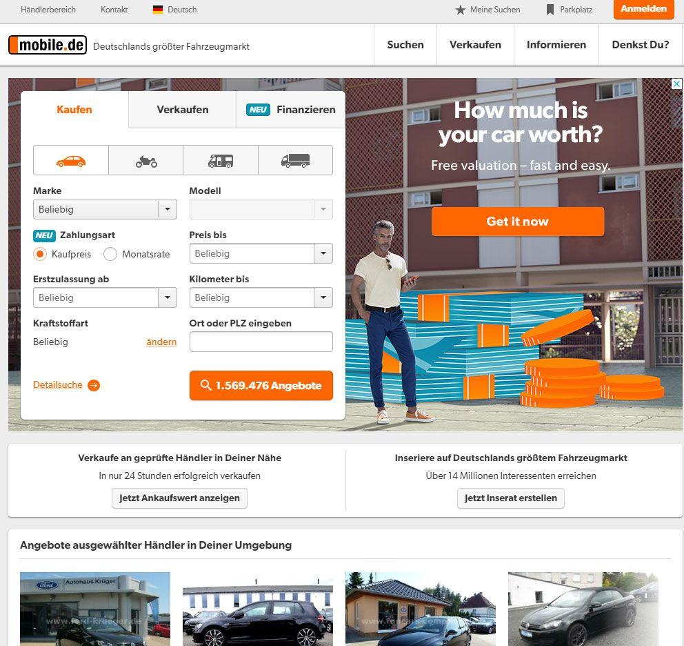 Сайт объявлений Mobile.DE