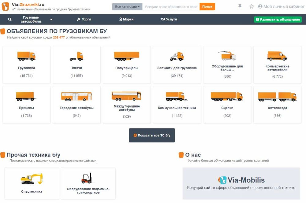 Объявления о продаже грузовиков на Via-Gruzoviki